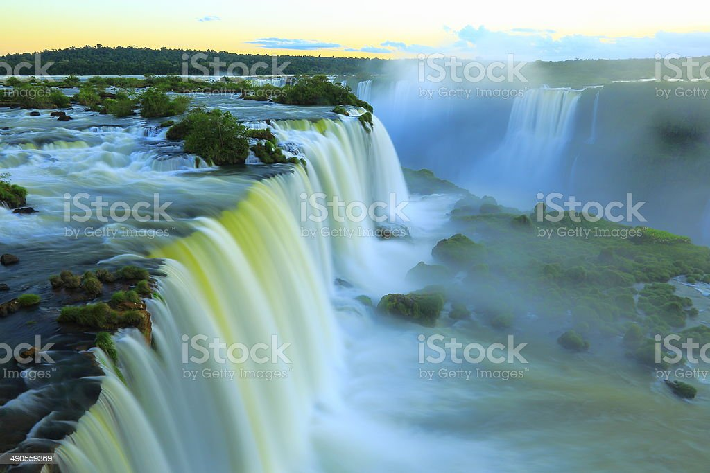 Iguacu falls from above - Brazil, long exposure - South America stock photo