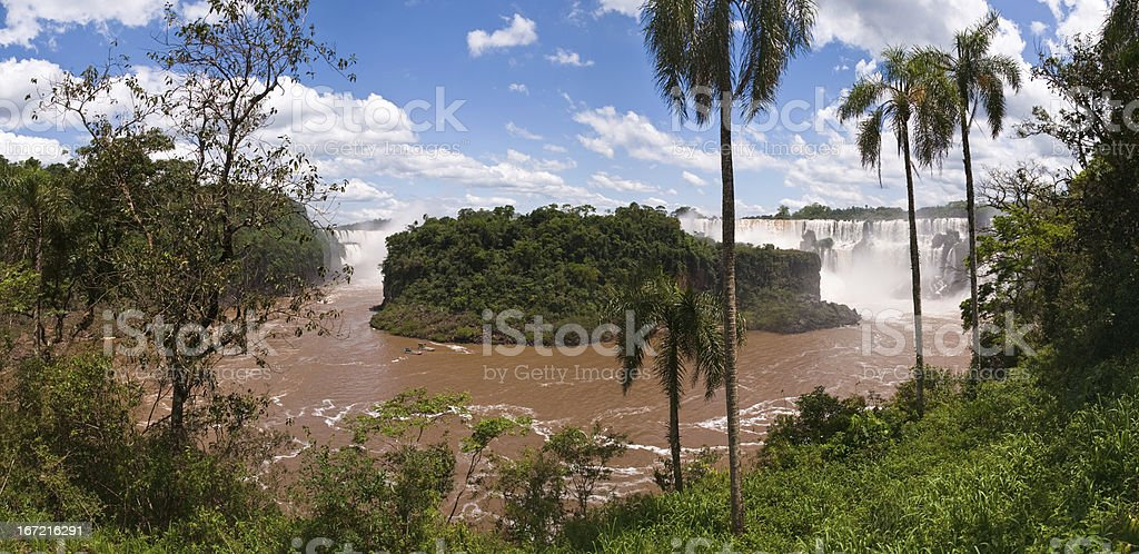 Iguacu falls in middle of the rainforrest royalty-free stock photo