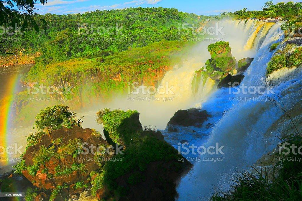 Iguacu falls side view: waterfall in Argentina rainforest, America stock photo