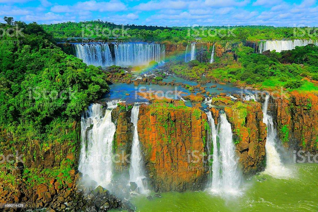 Iguacu impressive 4 falls and green rainforest, Brazil, South America stock photo