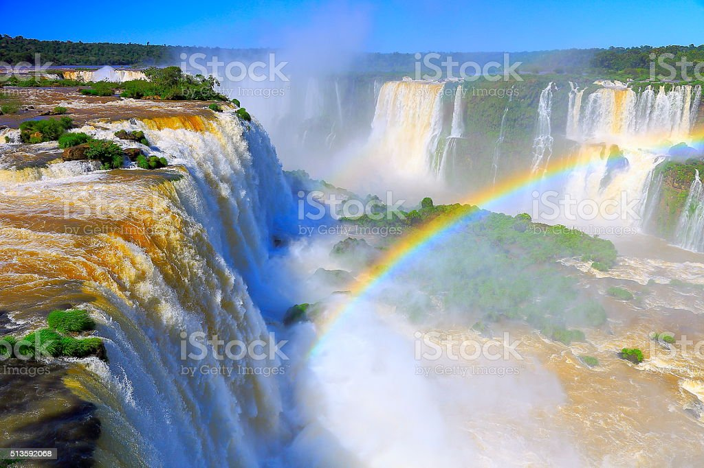 Iguacu impressive falls and green rainforest, Brazil Argentina, South America stock photo