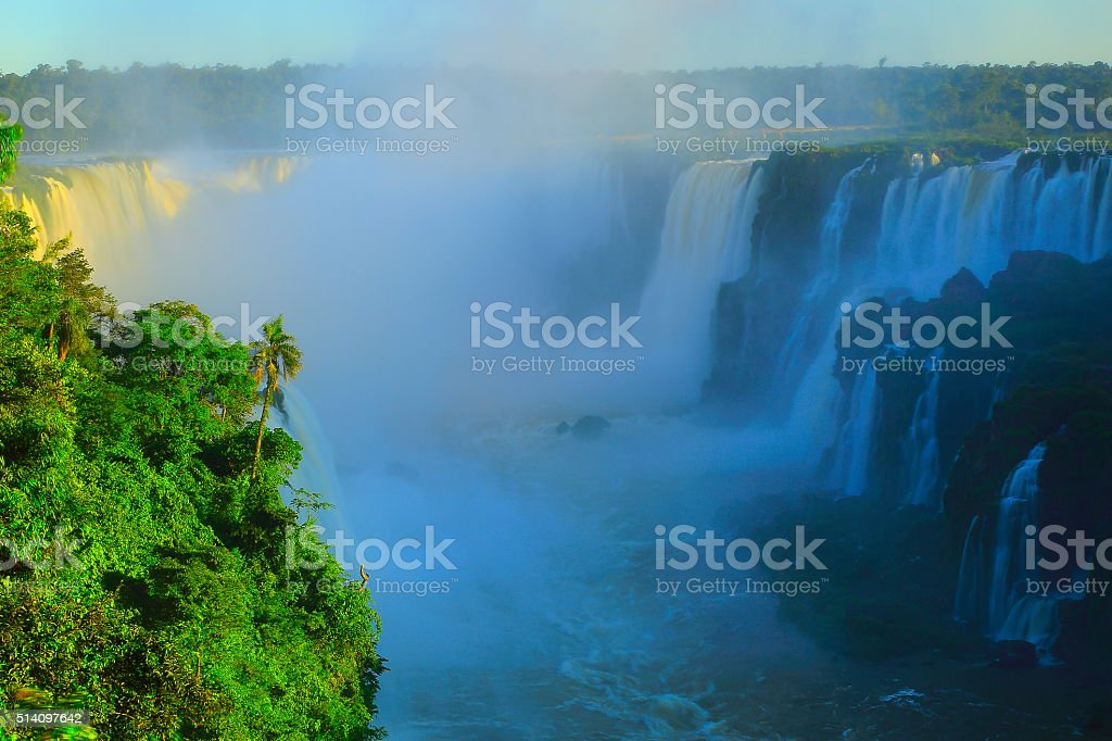 Iguacu impressive falls and green rainforest, Brazil Argentina, South America stock photo