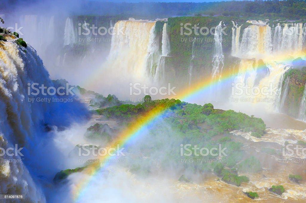 Iguacu impressive falls, rainbow, green rainforest, Brazil Argentina, South America stock photo