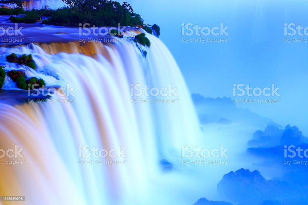 Iguacu impressive milky blurred falls sunset, Brazil Argentina, South America stock photo