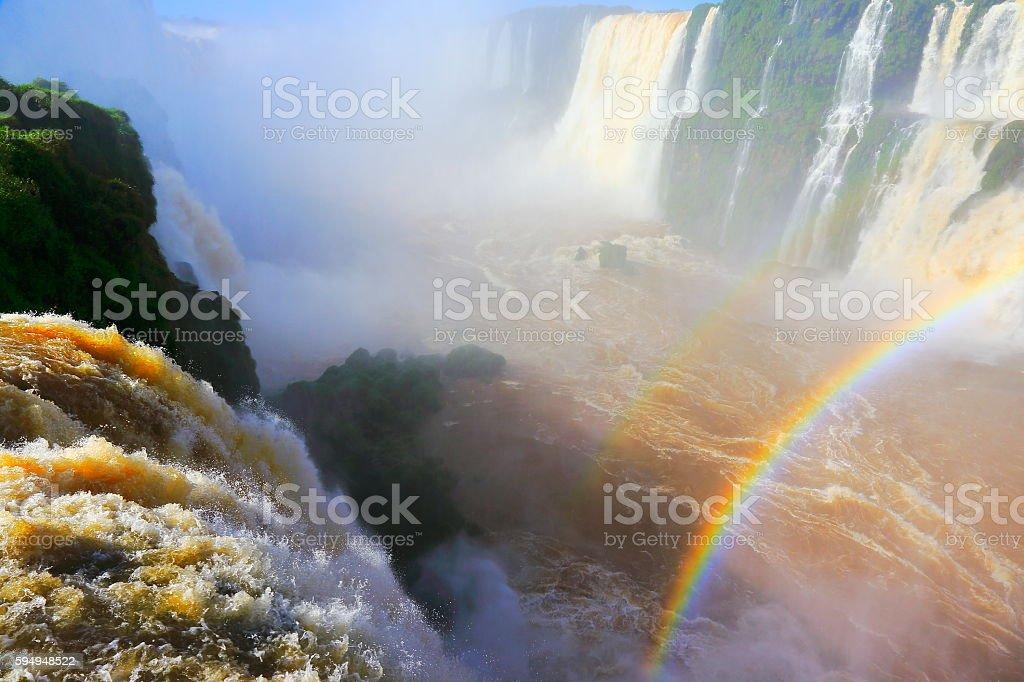 Iguacu impressive waterfalls rainbow, green rainforest, Brazil Argentina, South America stock photo