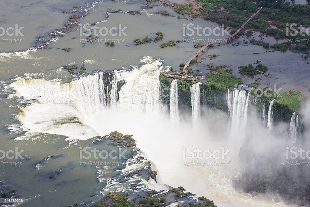 Iguassu falls from the air.  Iguassu, Foz do Iguacu, Brazil stock photo