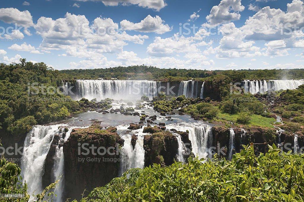 Iguassu waterfalls bordering Argentina Brazil stock photo