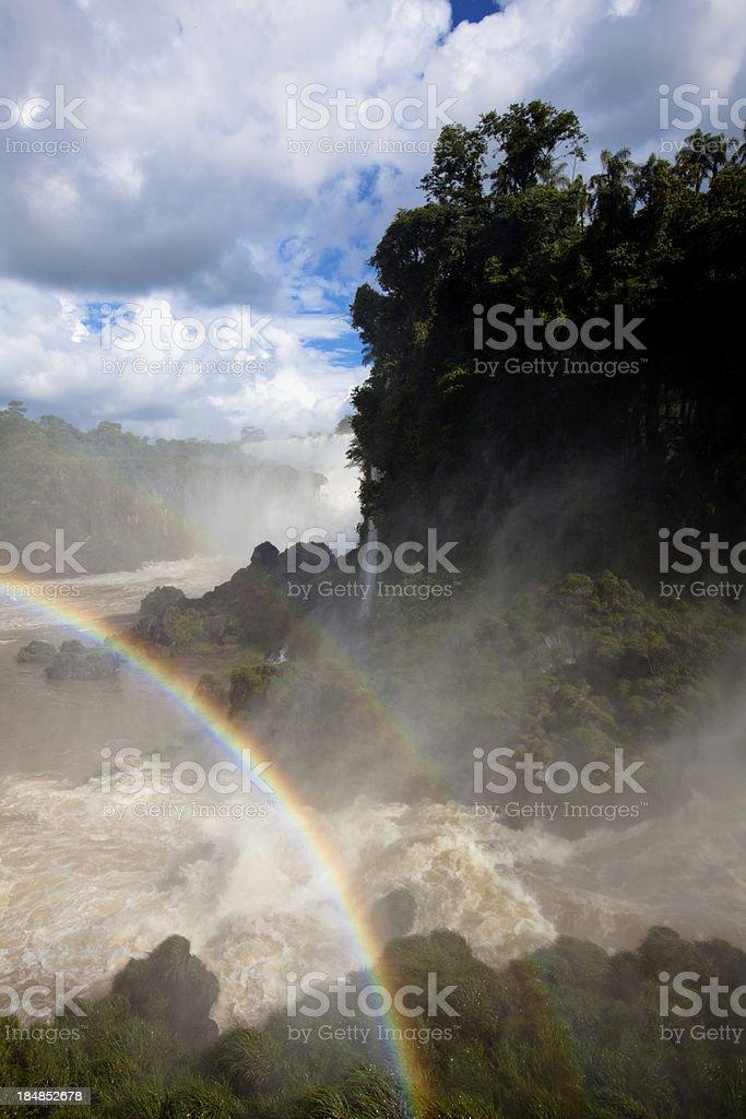 Iguazu falls and double rainbow royalty-free stock photo