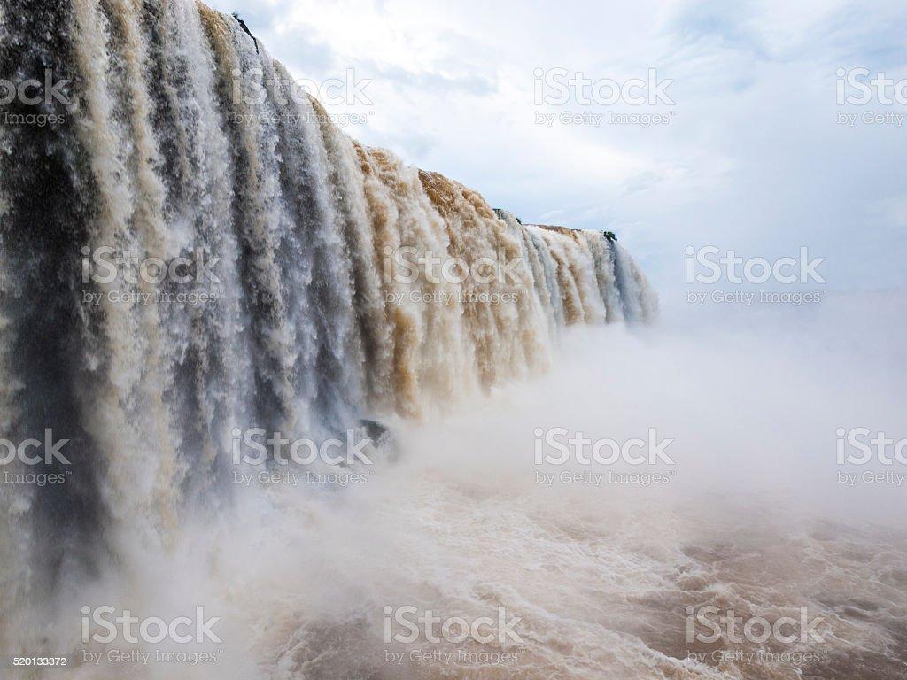 Iguazu Falls between Argentina and Brazil stock photo