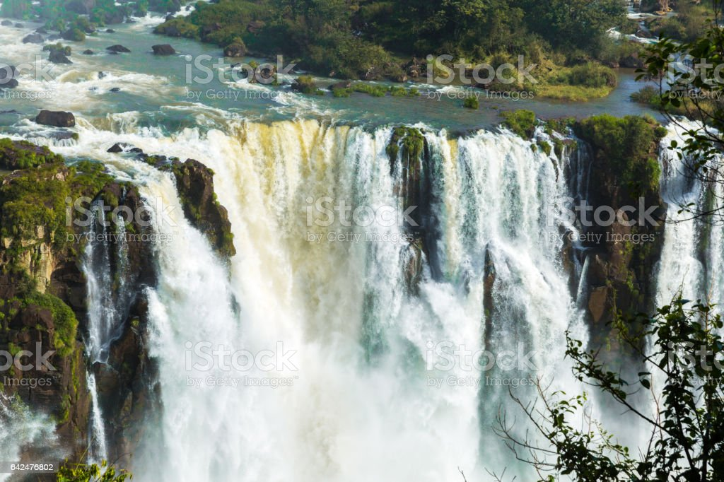 Iguazu falls between Brazil and Argentina border stock photo