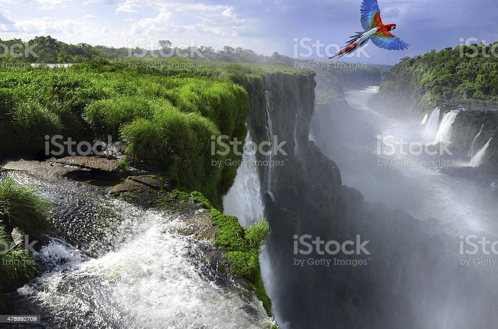 Iguazu Falls in Argentina and Brazil Border stock photo