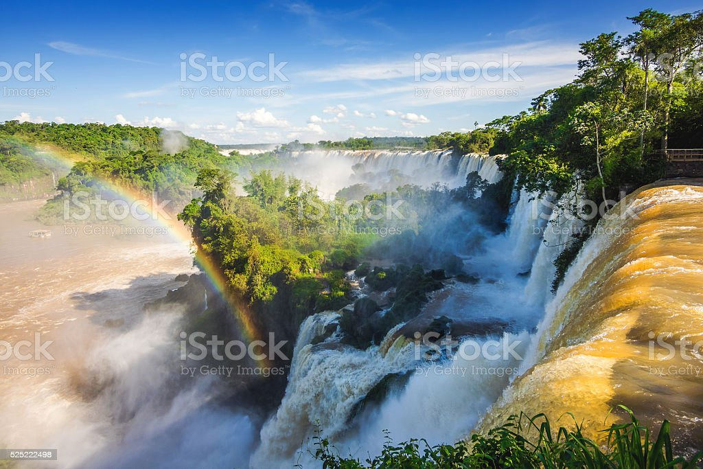 Iguazu Falls, on the Border of Argentina and Brazil stock photo