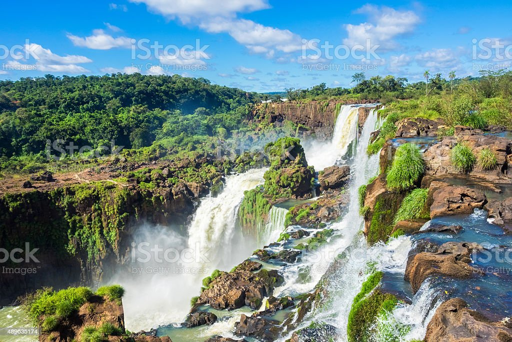Iguazu Falls, on the Border of Argentina, Brazil, and Paraguay stock photo