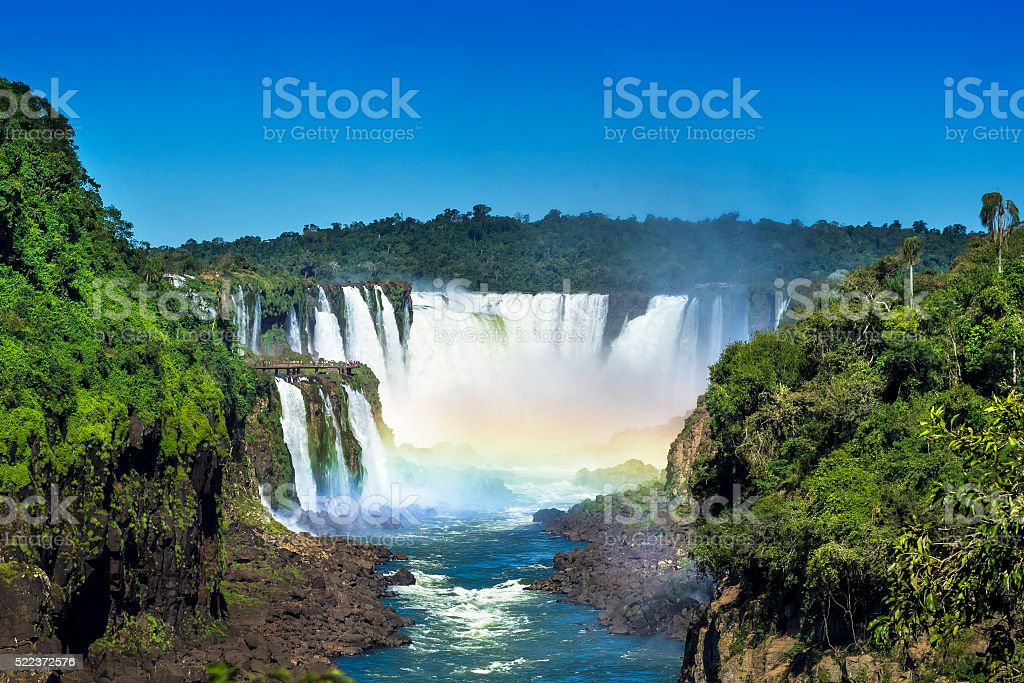Iguazu Falls, on the Border of Brazil, Argentina and Paraguay stock photo