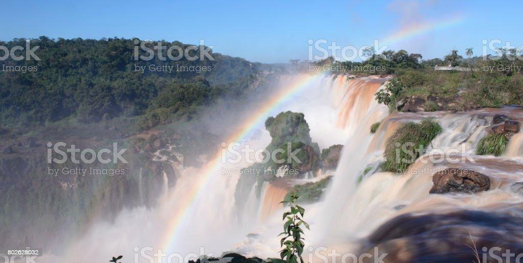 Iguazu Falls, Seven Wonder of the World, Argentina and Brazil. stock photo