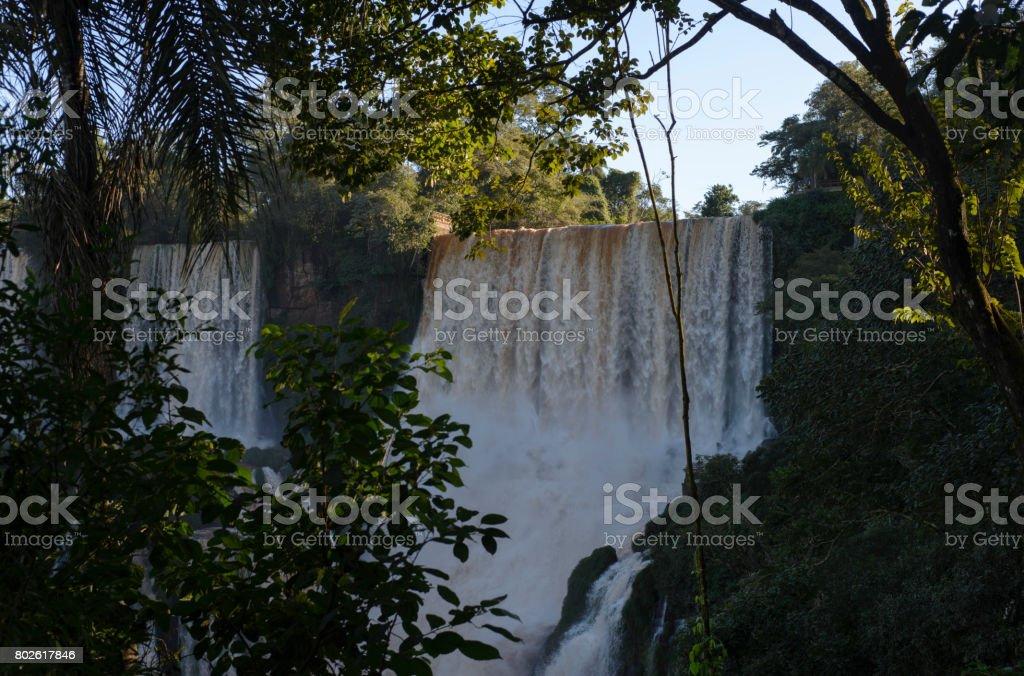 Iguazu Falls view from Argentina. stock photo