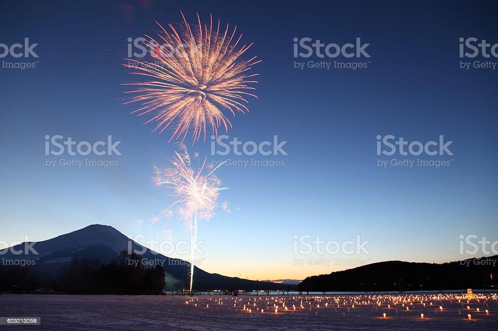 IIce Candle Illumination & fireworks in Yamanakako, JAPAN stock photo