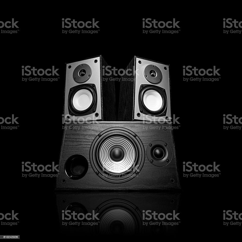 Iimage of three audio speakers, isolated on black. stock photo