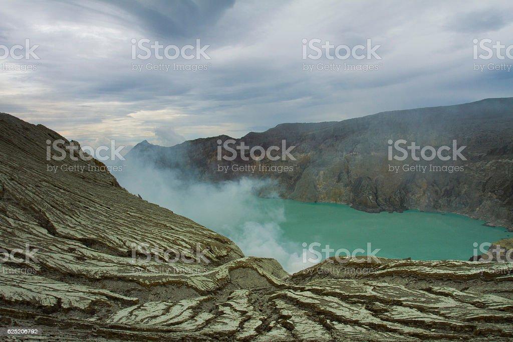 Ijen crater lake stock photo