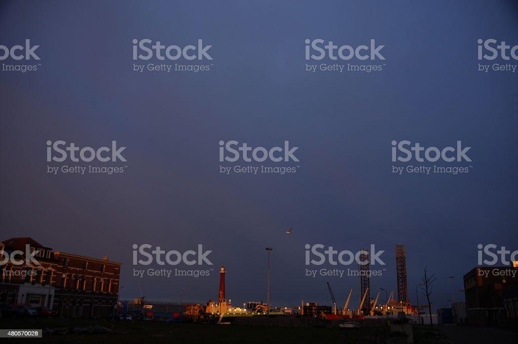 IJmuiden harbor at daybreak stock photo