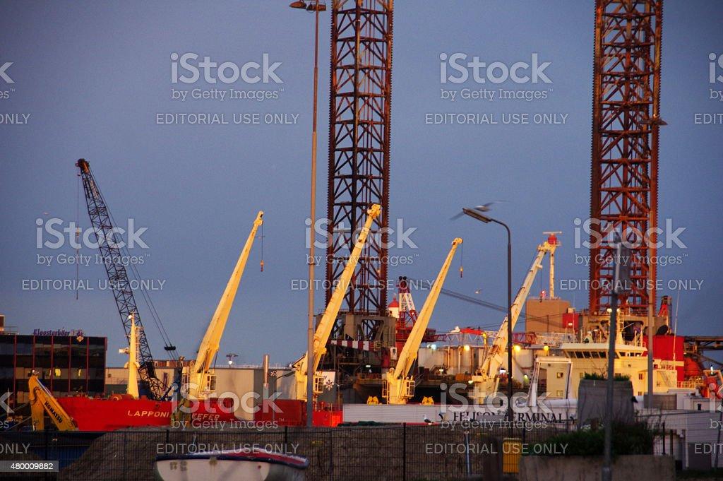 IJmuiden harbor in the morning stock photo