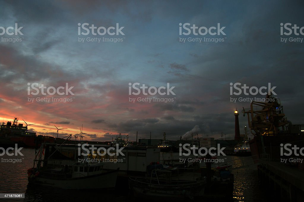 IJmuiden harbour at night stock photo