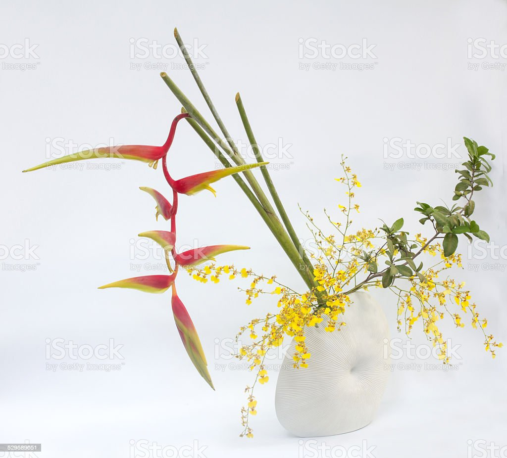 ikebana asia thai flower decoration stock photo