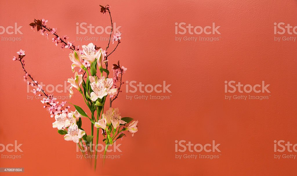 Ikebana Flower Arrangement with Copy Space stock photo
