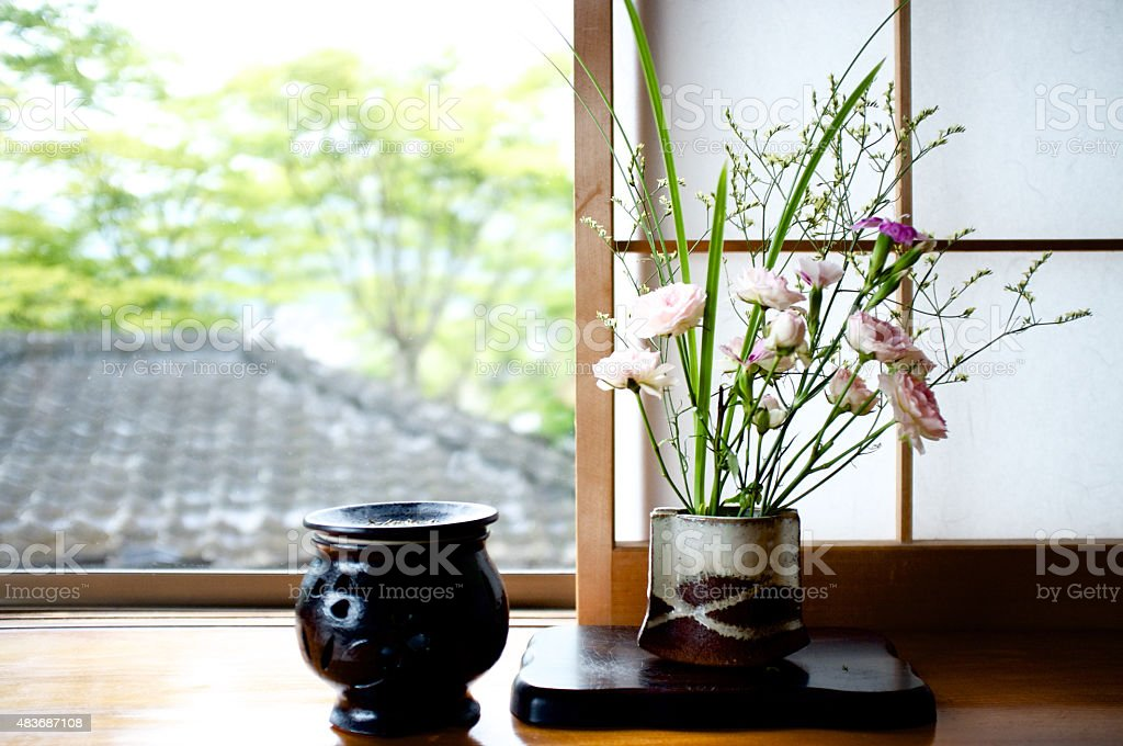 Ikebana - Japanese art of flower arrangement stock photo