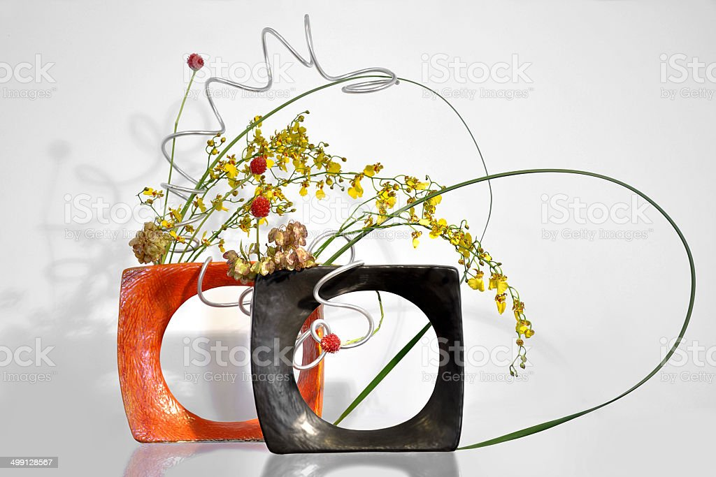 Ikebana, japanese floral arrangement stock photo