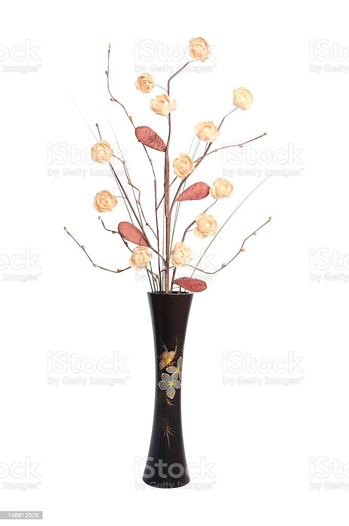 Ikebana set in wooden vase. royalty-free stock photo