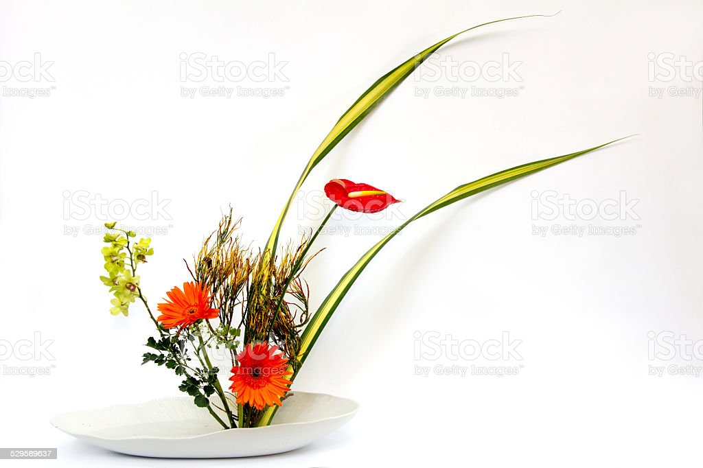 ikebana thai flower decoration stock photo