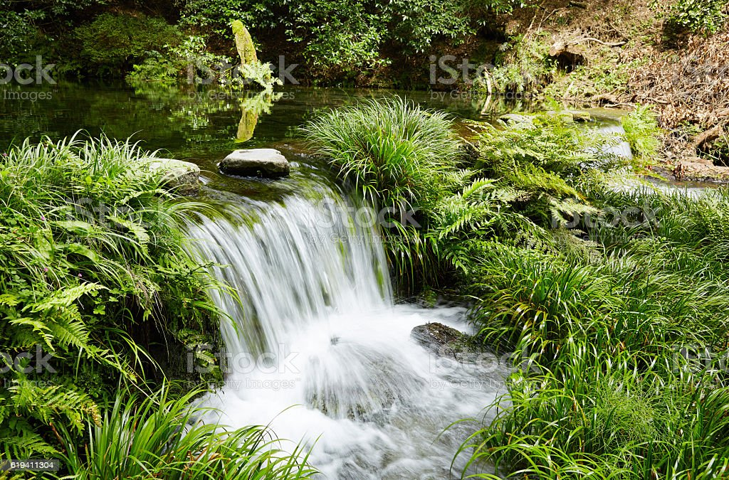 Ikeyamagensui spring water at Kumamoto prefecture in Japan stock photo