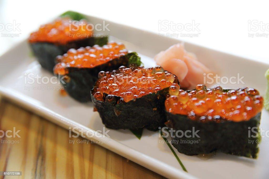 Ikura sushi , ikura with seaweed , japanese food stock photo