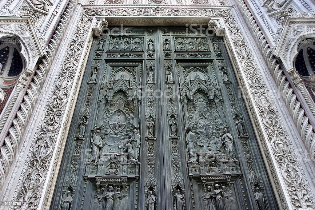 Il Duomo Doors, Florence, Italy royalty-free stock photo