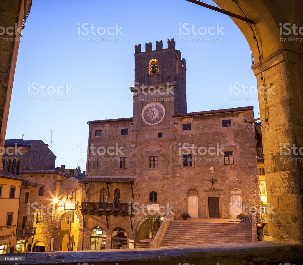 Il Palazzo Comunale at dusk, Cortona Tuscany Italy royalty-free stock photo