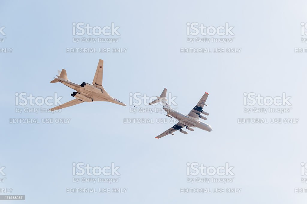 Il-78 tanker and Tu-160 bomber demonstrate refueling against sky background royalty-free stock photo
