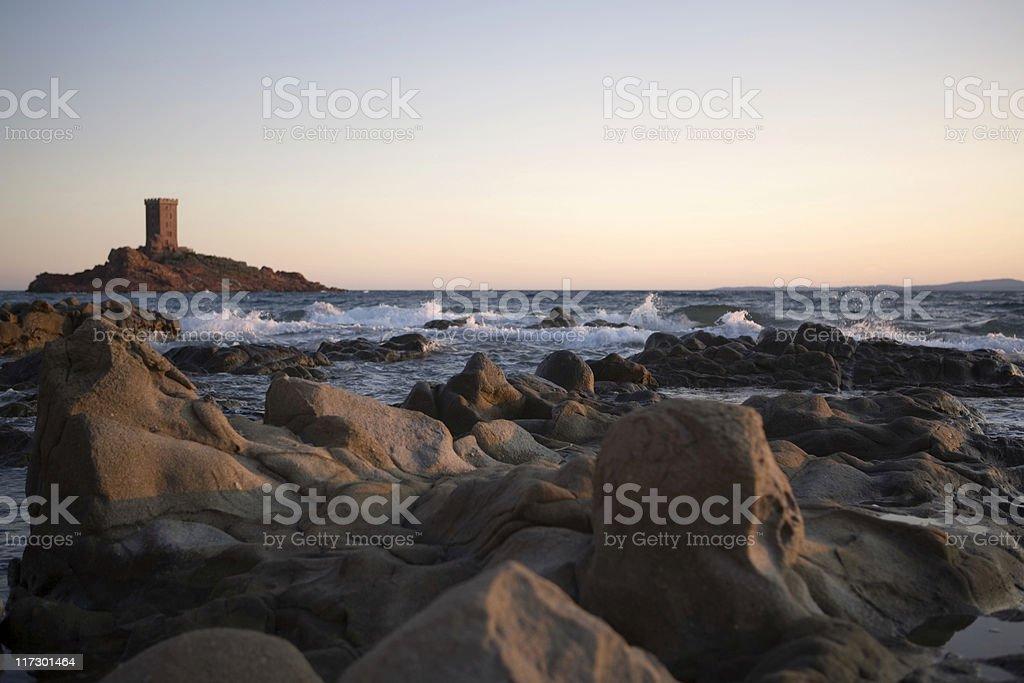 Ile d'Or seen from Le Dramont Beach near Saint-Rapha?ll royalty-free stock photo