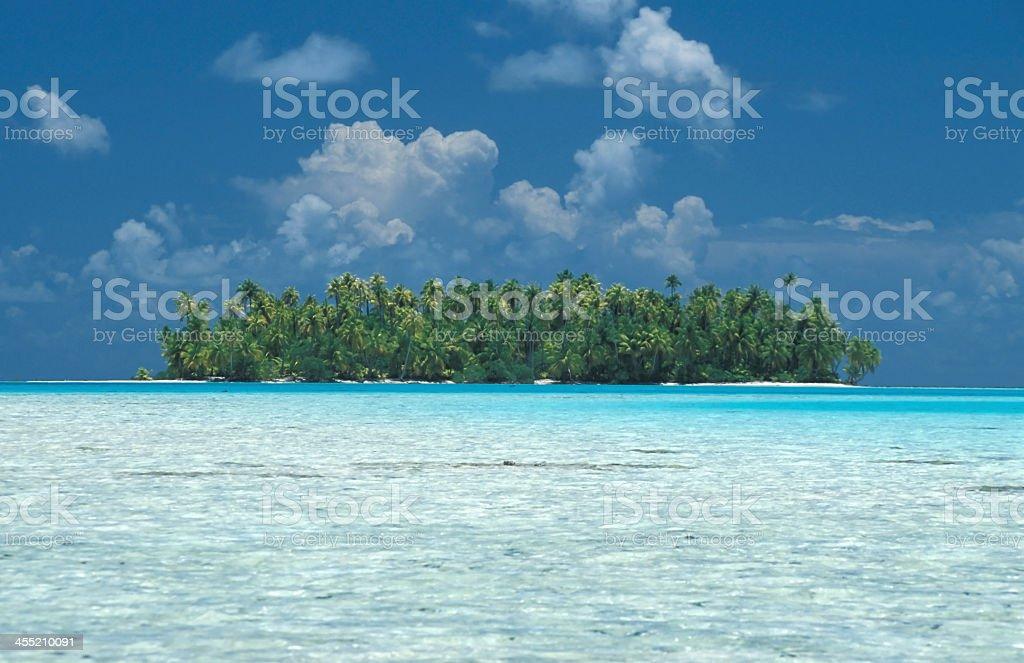 Ile d?serte et cocotiers ? Tahiti Polynesie stock photo