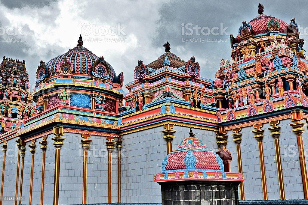 Ile Maurice, temple tamoul, architecture stock photo