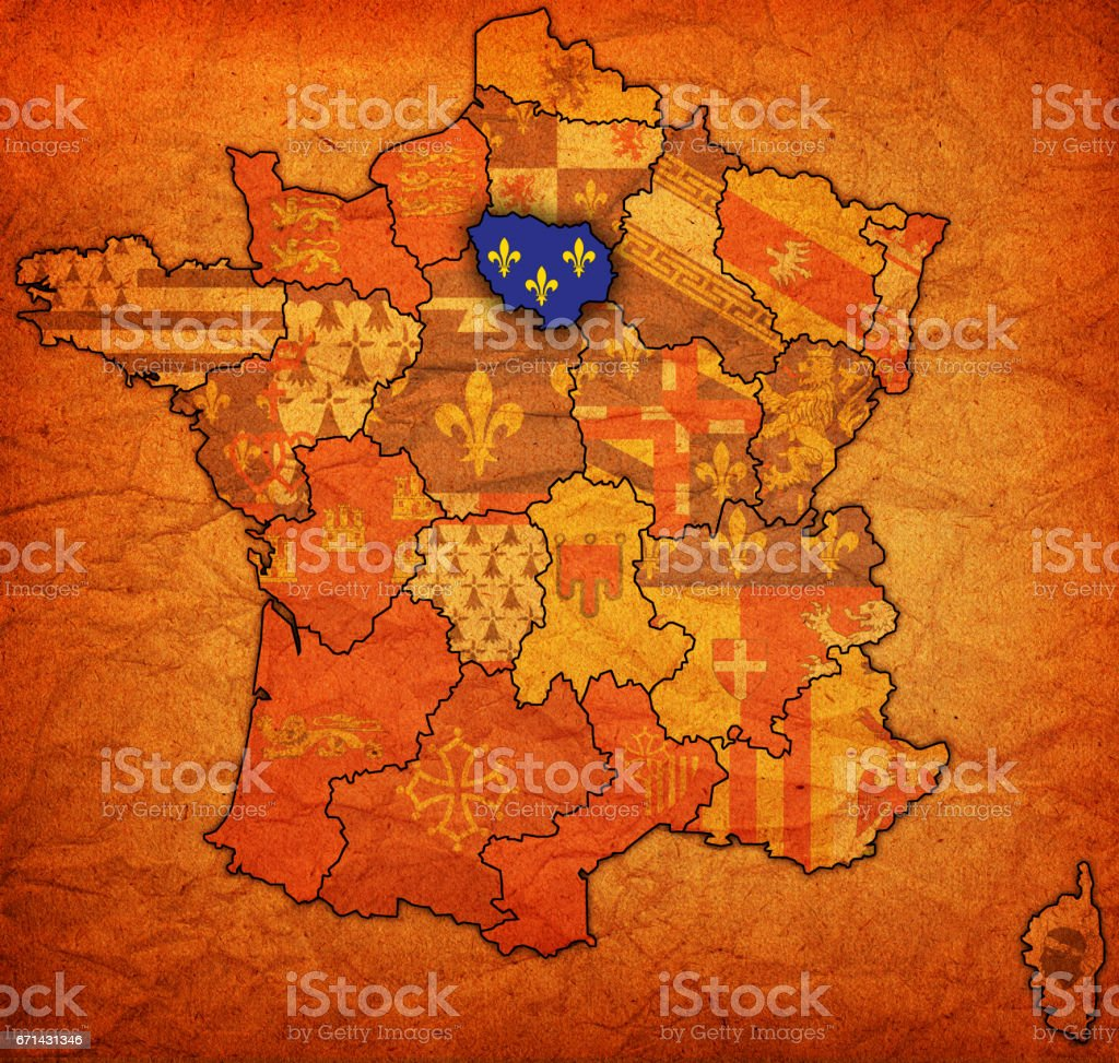 Ile-de-France on old map of france stock photo