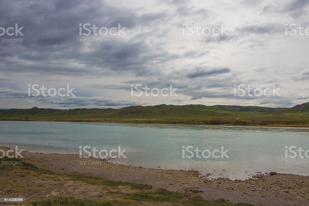 Ili River, Kazakhstan. Steppe spring stock photo