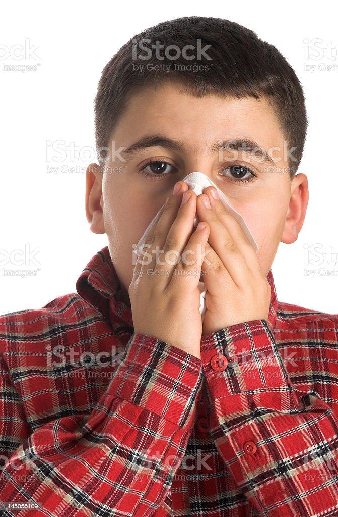 ill boy stock photo
