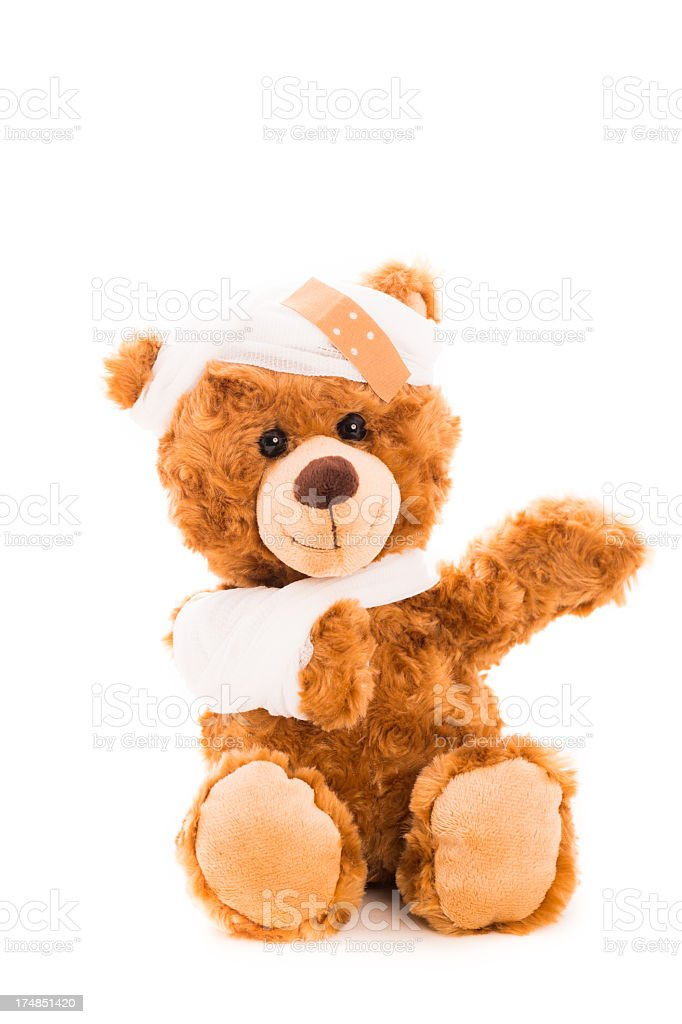 Ill but happy teddy bear feeling much better royalty-free stock photo