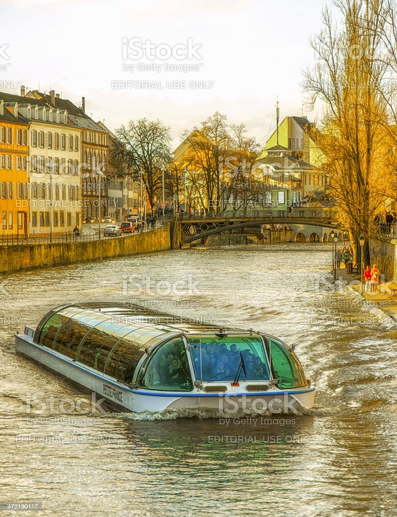 L'ill river in Srasbourg, with tourist ship named Pettite France stock photo