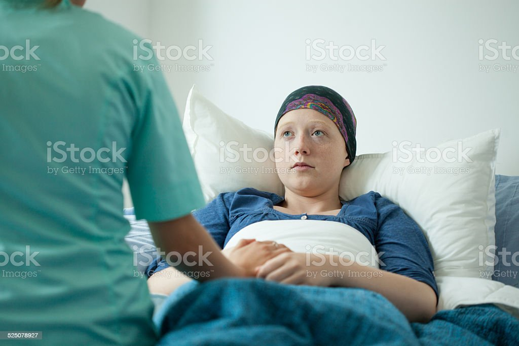 Ill with cancer girl stock photo