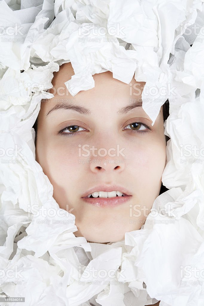 Ill Woman with Paper Tissues royalty-free stock photo