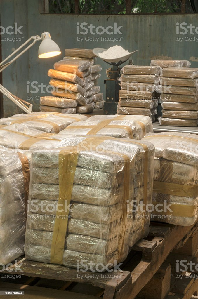 Illegal cocaine warehouse stock photo