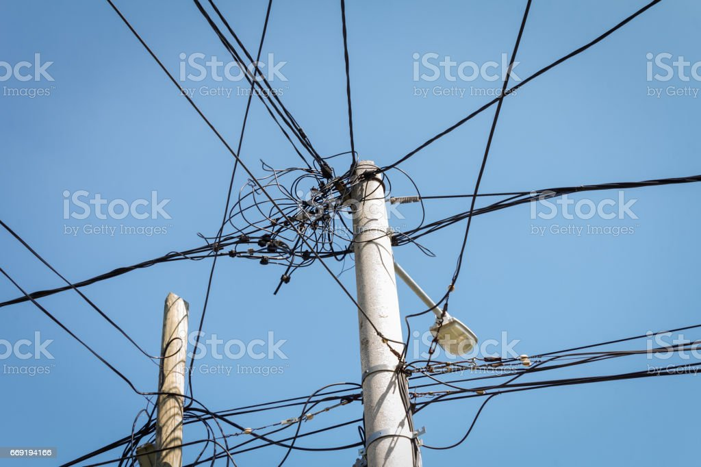 Illegal electricity connection, power stealing stock photo