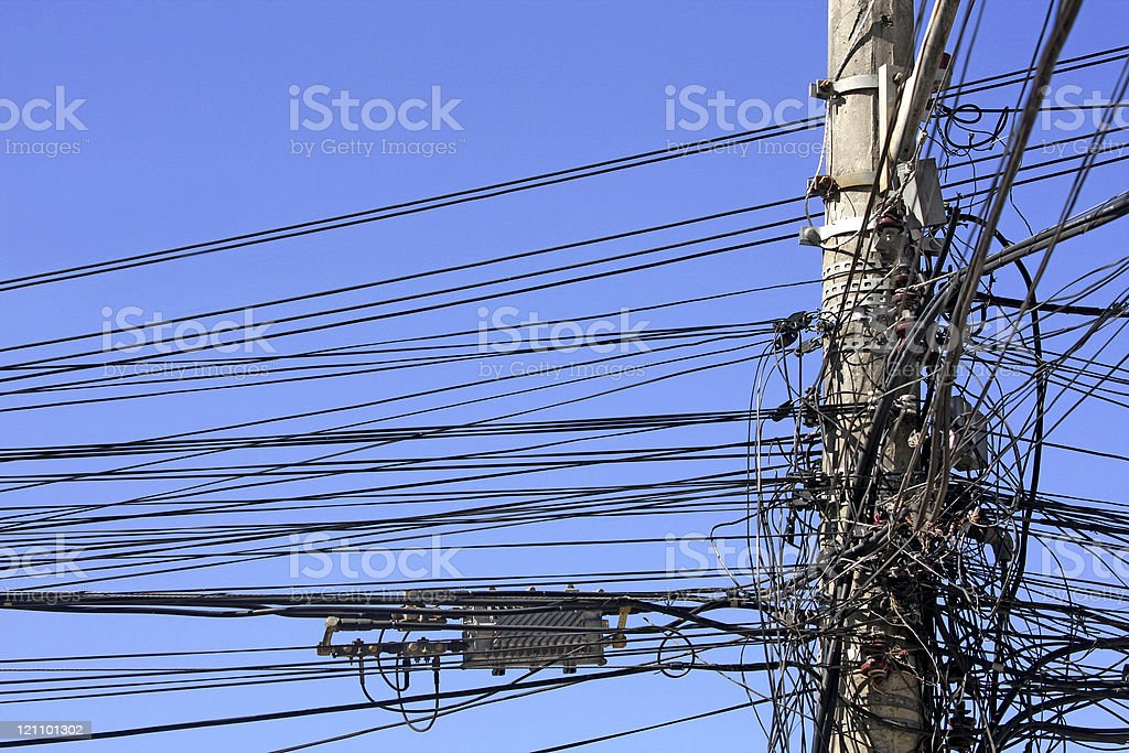 Illegal electricity connections - gato royalty-free stock photo